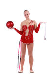 Stående av den härliga flickagymnasten royaltyfri bild