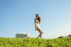 Stående av den härliga flickan som håller nätt vit Fotografering för Bildbyråer