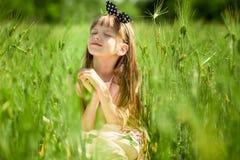 Stående av den härliga lilla flickan i elegant klänning i grönt sommarfält royaltyfria foton
