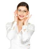 Stående av den härliga lyckliga kvinnan i exponeringsglas Arkivbild