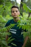 Stående av den härliga tonåriga pojken i skog royaltyfri foto