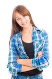 Stående av den härliga unga gladlynta flickan Fotografering för Bildbyråer
