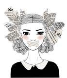 Stående av den härliga unga kvinnan med gagen på hennes mun vektor illustrationer