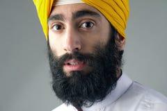 Stående av den indiska sikhmannen med det buskiga skägget Fotografering för Bildbyråer