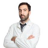 Stående av den isolerade unga europeiska doktorn Arkivfoto