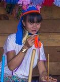 Stående av den Kayan stamkvinnan i Myanmar Arkivfoton