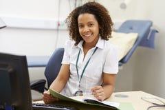 Stående av den kvinnliga konsulenten Working At Desk i regeringsställning royaltyfri foto