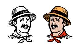 Stående av den lyckliga bonden eller trädgårdsmästaren, logo Lantgård lantbruk som arbeta i trädgården, trädgårdsnäring, åkerbruk stock illustrationer