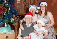 Stående av den lyckliga familjen i julhattar Royaltyfria Bilder