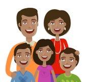 Stående av den lyckliga gladlynta familjen Folk, inhemskt liv, föräldrar och barn den främmande tecknad filmkatten flyr illustrat Arkivfoto