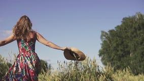 Stående av den lyckliga gladlynta och bekymmerslösa unga kvinnan i ett vetefält En härlig flicka tycker om varmt gå för sommardag arkivfilmer