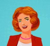 Stående av den lyckliga härliga kvinnan Stil för popkonst, vektorillustration stock illustrationer