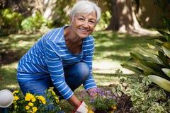 Stående av den lyckliga höga kvinnan som knäfaller, medan att plantera blommar royaltyfri bild