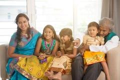 Stående av den lyckliga indiska familjen royaltyfri foto