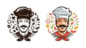 Stående av den lyckliga kocken, kock Kokkonst och att laga mat logo eller etiketten den främmande tecknad filmkatten flyr illustr royaltyfri illustrationer