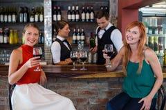 Stående av den lyckliga kvinnan som rymmer ett rött vinexponeringsglas på stångräknaren arkivfoton