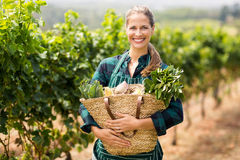 Stående av den lyckliga kvinnliga bonden som rymmer en korg av grönsaker Arkivbilder