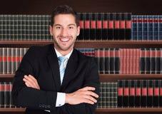 Stående av den lyckliga manliga advokaten arkivfoto