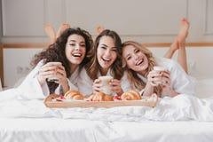 Stående av den lyckliga tre kvinna20-tal som bär badrocken som dricker latt royaltyfria foton