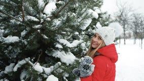 Stående av den lyckliga unga kvinnan som tillbaka går på den soliga vinterdagen arkivfilmer