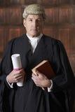 Stående av den manliga advokatIn Court Holding resumén och boken royaltyfria foton