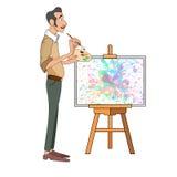 Stående av den manliga målarekonstnären och mustasch som ler och målar med den färgrika paletten som står den near staffli royaltyfri illustrationer