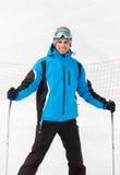 Stående av den manliga skidåkaren royaltyfri foto