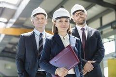 Stående av den mogna affärskvinnan med manliga kollegor i metallbransch royaltyfri bild
