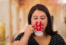 Stående av den nätta feta kvinnan i en härlig klänning, dra kopp av coffe i en suddig bakgrund arkivfoton