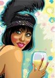 Stående av den roliga flickan med exponeringsglas av champagne. Dåligt Royaltyfri Illustrationer