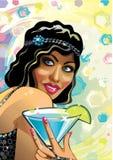 Stående av den roliga kvinnlign med den blåa coctailen och G Stock Illustrationer