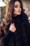 Stående av den sexiga härliga kvinnan med mörkt hår i lyxigt pälslag Arkivfoton