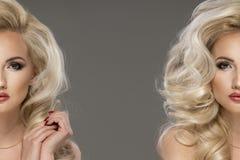 Stående av den sinnliga blonda kvinnan med långt lockigt hår Skönhetfoto Royaltyfria Bilder