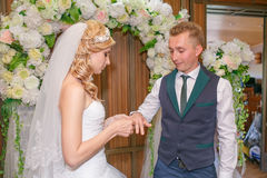 Stående av den stiliga brudgummen som sätter vigselringen på brudhanden Royaltyfri Bild