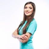 Stående av den tillfälliga ståenden för yong kvinna, leende, härlig modell Arkivfoto