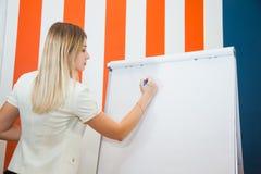 Stående av den unga affärskvinnan som ger presentation till kollegor arkivbild