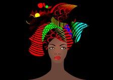 Stående av den unga afrikanska kvinnan i en färgrik turban Slå in afro- mode, Ankara, Kente, kitenge, afrikanska kvinnaklänningar royaltyfri illustrationer