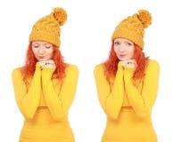 Stående av den unga attraktiva emotionella kvinnan i gul hatt royaltyfria bilder
