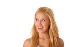 Stående av den unga caucasian affärskvinnan som isoleras över vitceo Arkivfoton