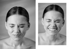 Stående av den unga härliga flickan i studio, med yrkesmässig makeup Skönhetskytte emotionell stående näsan rynkade royaltyfria foton