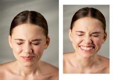 Stående av den unga härliga flickan i studio, med yrkesmässig makeup Skönhetskytte emotionell stående näsan rynkade arkivbild