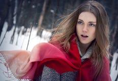 Stående av den unga härliga flickan med den röda halsduken i winten Arkivfoton