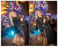 Stående av den unga härliga kvinnan med långt ganska hår som är utomhus- i kall vinterafton den härliga blondinkläder klädde vint Arkivbild