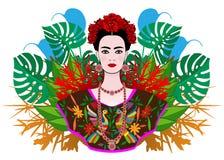 Stående av den unga härliga mexikanska kvinnan med en traditionell frisyr Mexicanska juvlar, krona av blommor och röda blommor vektor illustrationer
