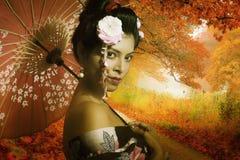 Stående av den unga japanska damen Fotografering för Bildbyråer