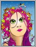 Stående av den unga kvinnan som älskar naturen, djur, musik och att surfa vektor illustrationer