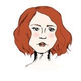 Stående av den unga nätta flickan med hår för röd ingefära som är färgrikt på den vita bakgrunden Arkivfoto