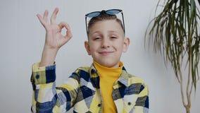 Stående av den unga pojken med blåa ögon som se kameran ler och visar med hans hand, som allt är ok arkivfilmer