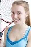 Stående av den unga tennisspelaren Fotografering för Bildbyråer