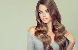 Stående av den ursnygga unga kvinnan med elegant smink och den perfekta frisyren royaltyfri foto